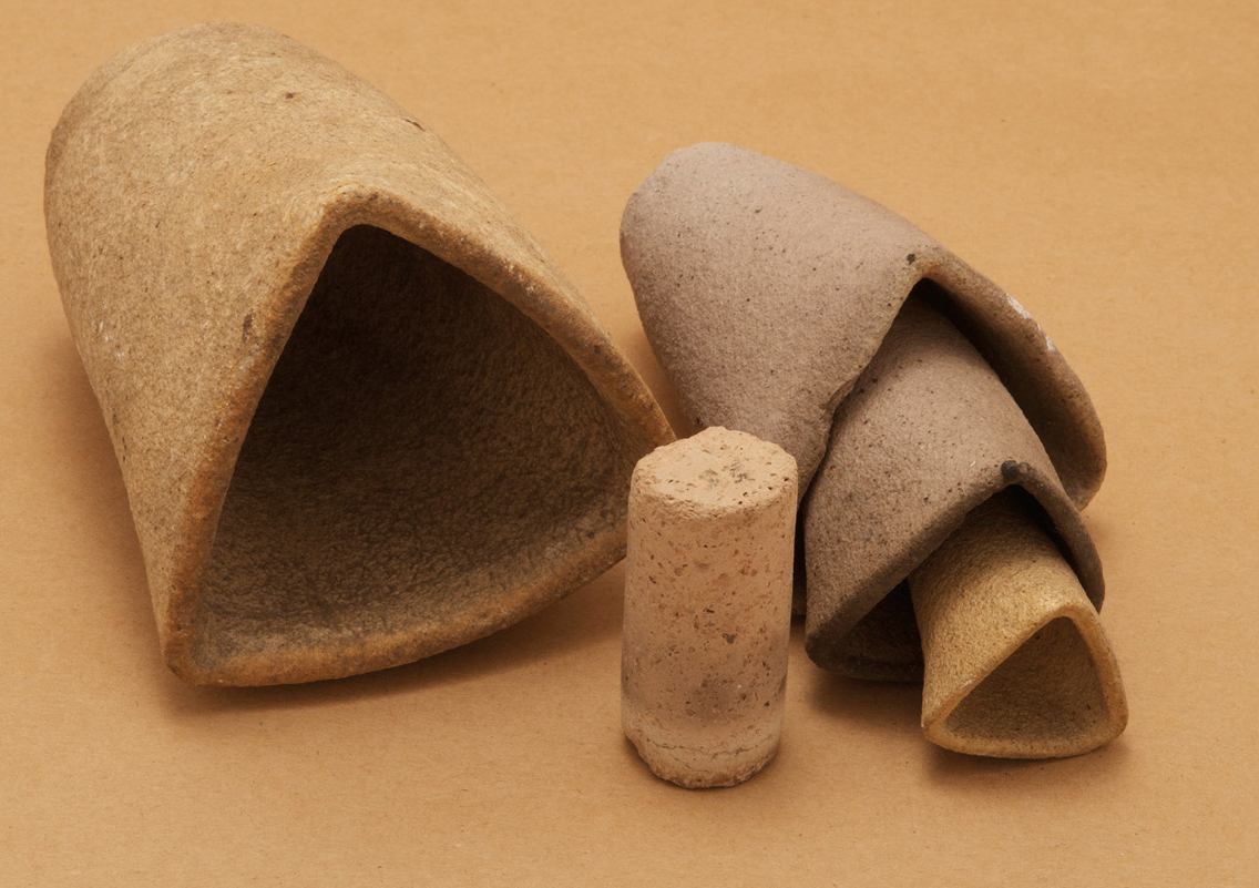 Clay-fired crucibles and roller (circa 1979)