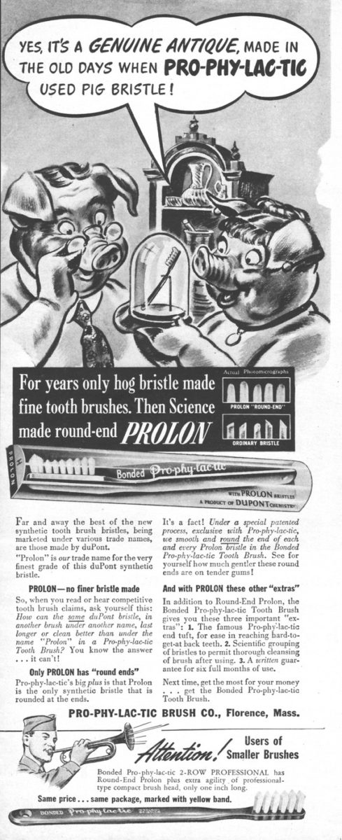 Pro-phy-lac-tic Brush Co.'s Prolon ad (1944)