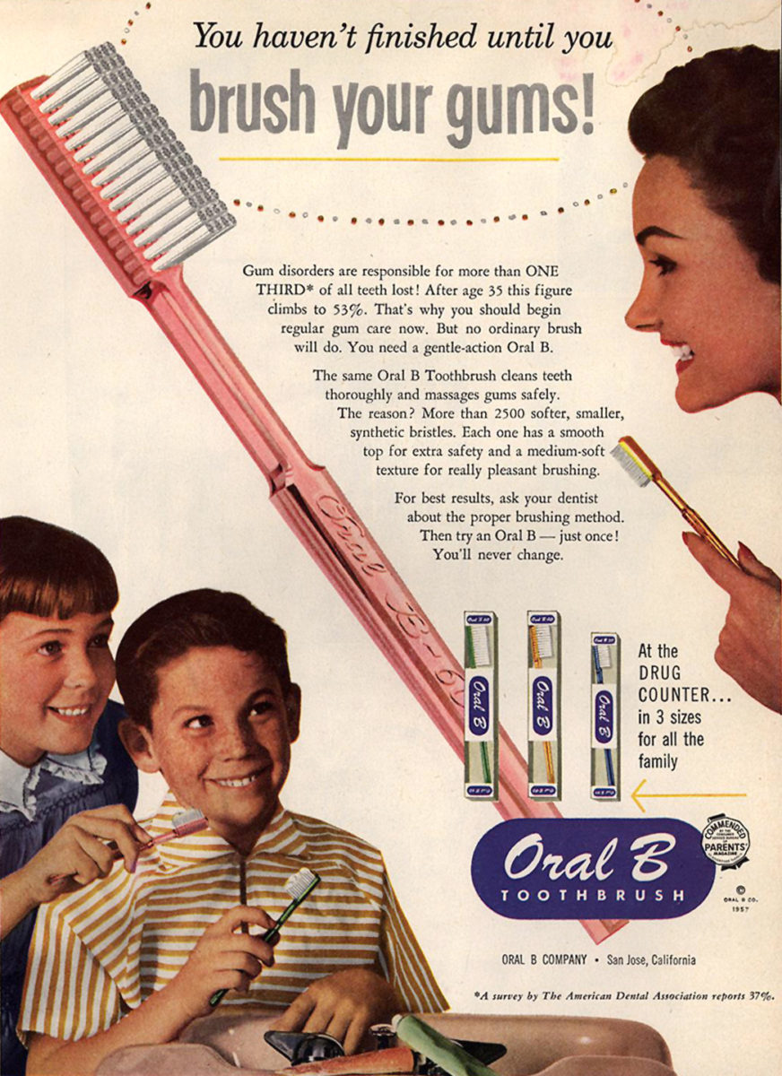 Oral B toothbrush 1957 ad