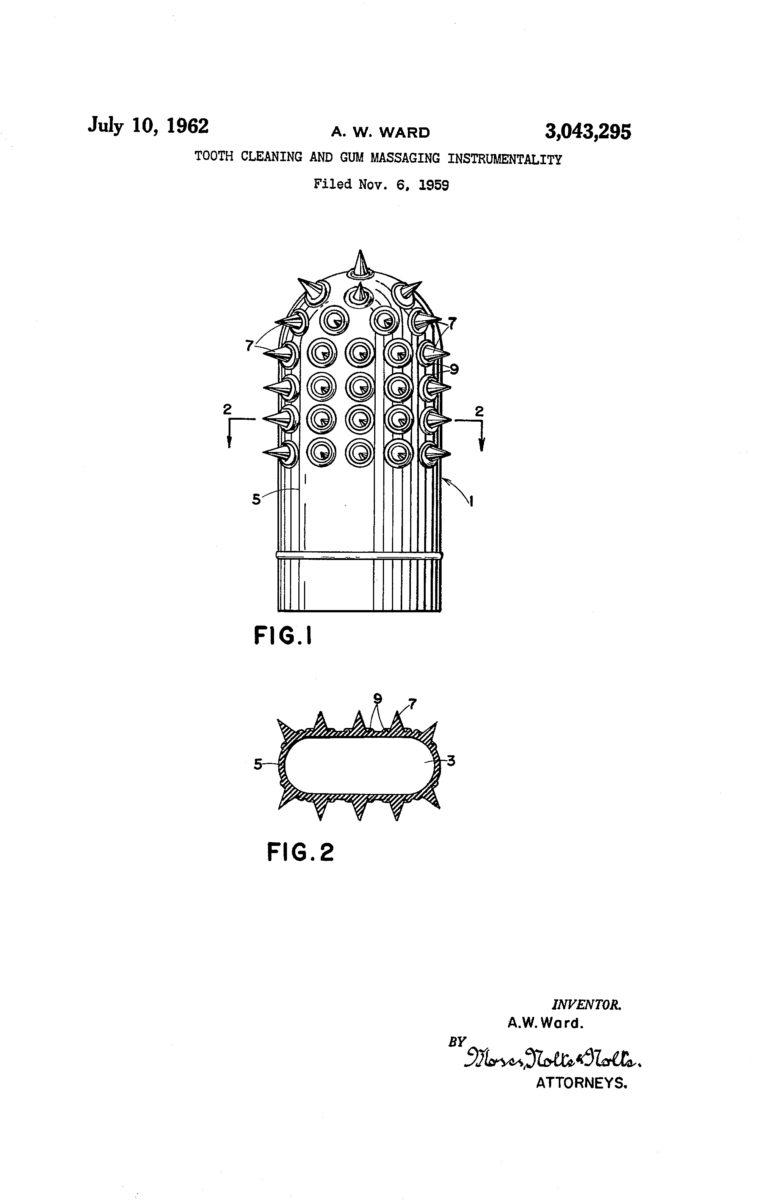 Ward's Wondr-Dent Gum Massager patent drawing