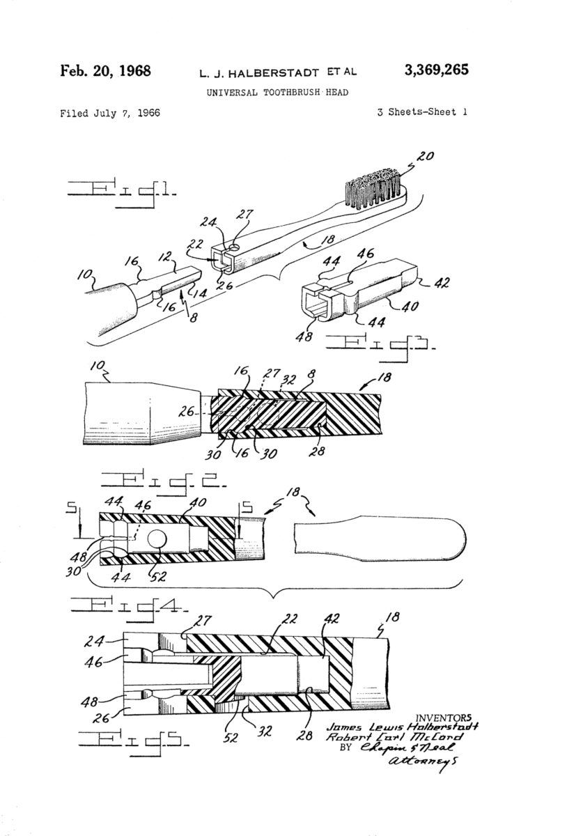 Universal Toothbrush Head patent drawing