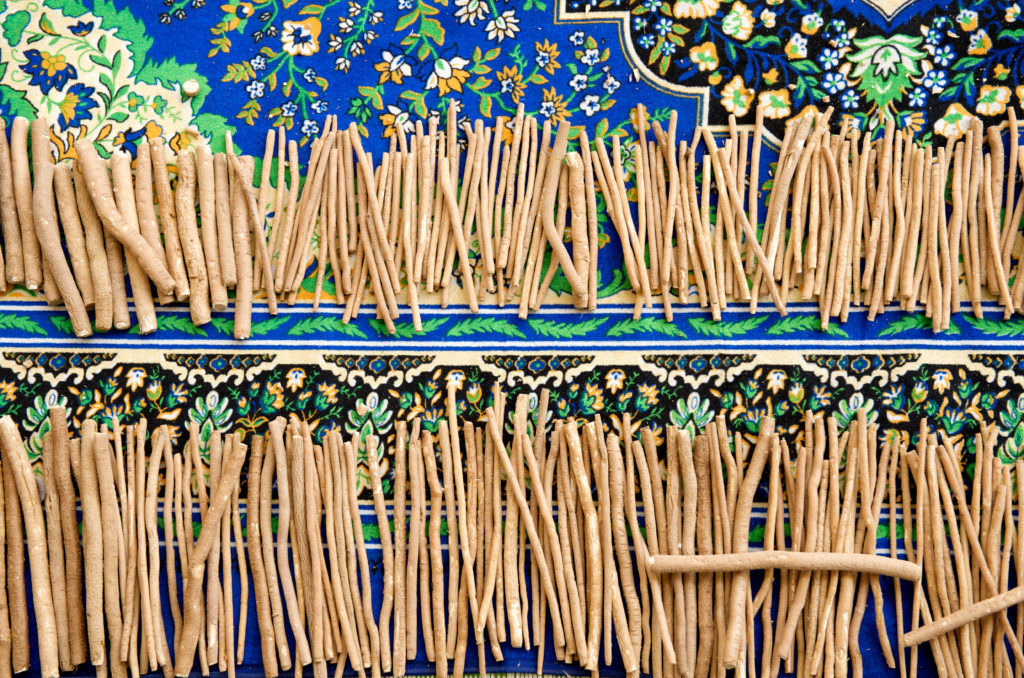 A group of Miswak sticks put together.
