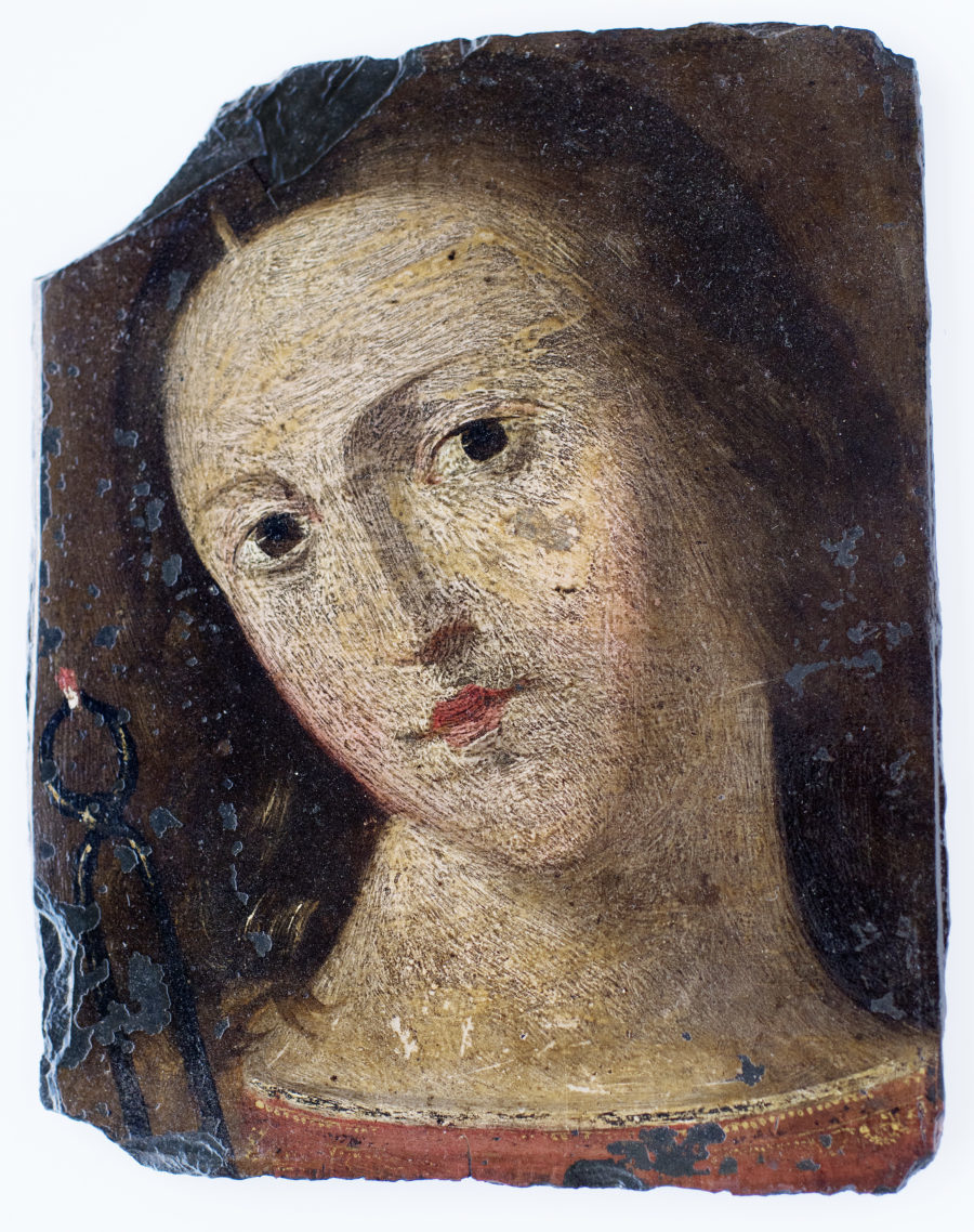 Oil on slate portrait, fifteenth century